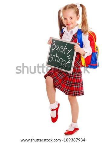 Happy child with backpack holding banner. Isolated. - stock photo