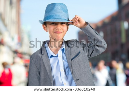 Happy child with blue hat