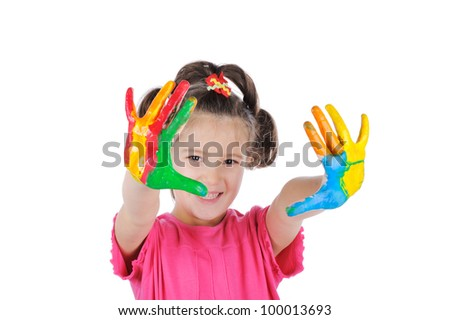 Happy child with colorful painted hands isolated