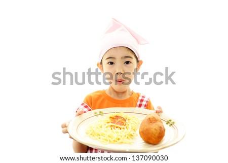 Happy child with food - stock photo