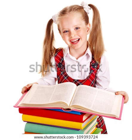 Happy child with stack book. Isolated. - stock photo