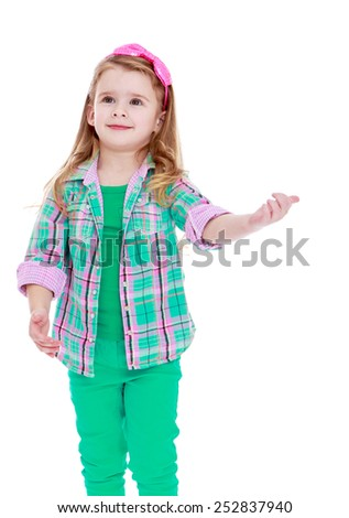 Happy childhood, the family concept.Caucasian beautiful little girl gesturing hand.Isolated on white. - stock photo