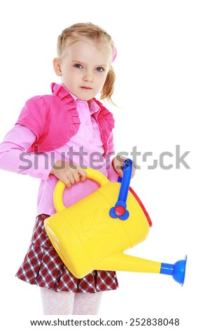 Happy childhood, the family concept.Cute little girl holding a watering can.Isolated on white. - stock photo