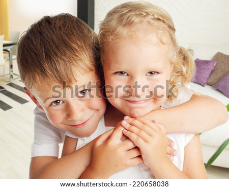 Happy children at home. Family - stock photo