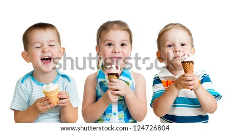 happy children boy and girls eating ice cream in studio isolated - stock photo