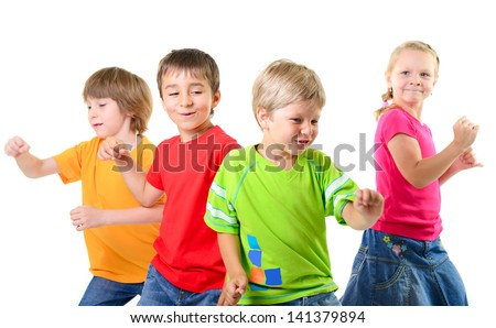 happy children dancing on a white background, healthy life, kid's togetherness and happiness concept - stock photo
