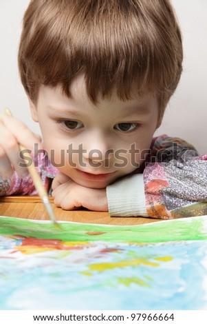 happy children draw picture