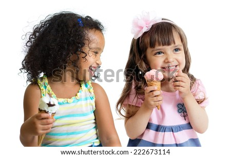 happy children eating ice cream isolated on white - stock photo