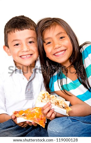 Happy children eating pizza - isolated over a white background - stock photo