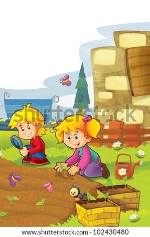 happy children having fun in the vegetable garden 1 - stock photo