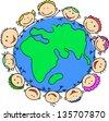 Happy children holding - stock vector