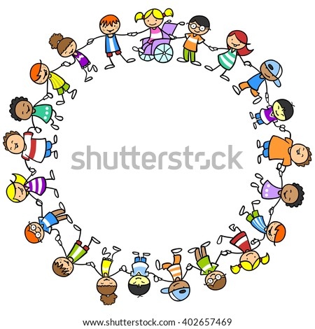 Happy children holding hands with girl in wheelchair exercising inclusion