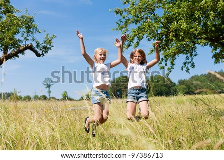 Happy children in a meadow in summer jumping high - stock photo