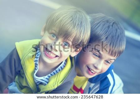 happy children in the park - stock photo