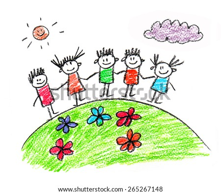 happy children kids drawings - Kids Drawings Images