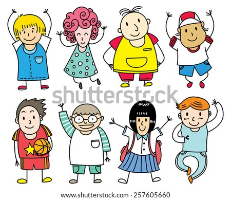 happy children lined up - stock photo