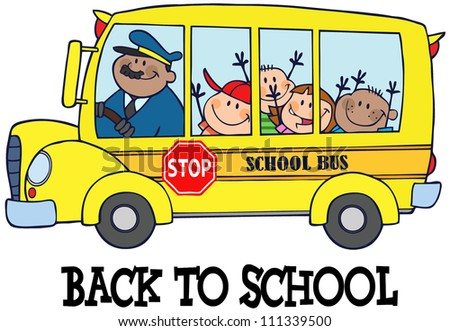 Happy Children On School Bus And Text . Raster Illustration.Vector version also available in portfolio. - stock photo
