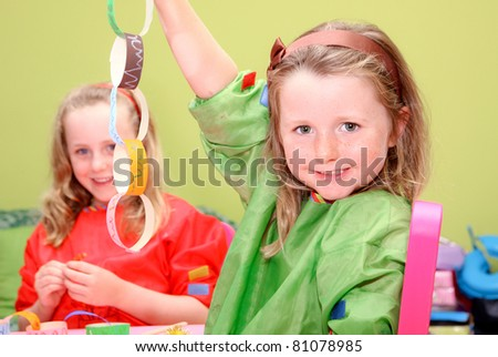 happy children or kids playing art and craft - stock photo