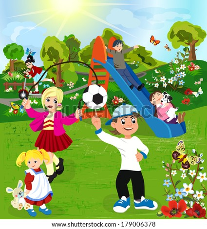 Happy children playing in green park  - stock photo