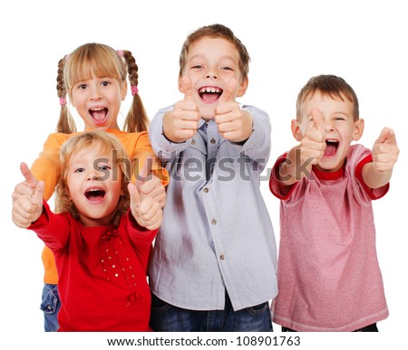 Happy children showing thumb up