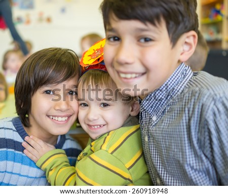 Happy children together - stock photo