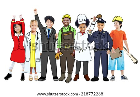 Happy Children with Professional Occupation Concept - stock photo