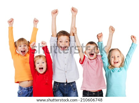 Happy children with their hands up isolated on white - stock photo