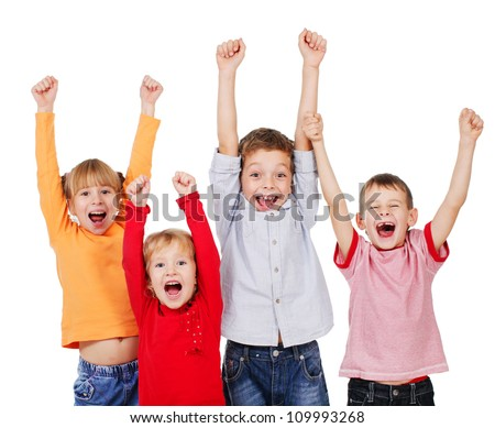 Happy children with their hands up isolated on white. Kids - stock photo