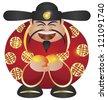 Happy Chinese Lunar New Year Prosperity Money God with Mandarin Oranges Illustration Isolated on White Background Raster - stock photo