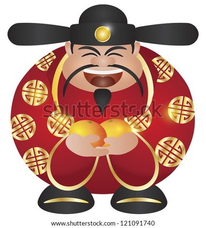 Happy Chinese Lunar New Year Prosperity Money God with Mandarin Oranges Illustration Isolated on White Background Raster - stock photo