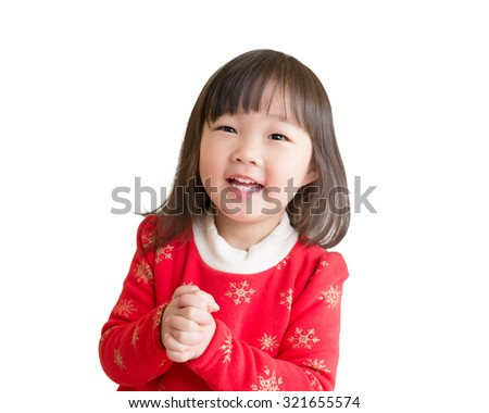 happy Chinese new year. Asian girl with gesture of congratulation isolated on white background - stock photo