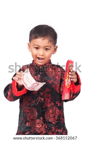 happy chinese new year, asian little boy holding red envelope