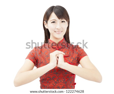 happy chinese new year.  asian woman with Congratulation gesture