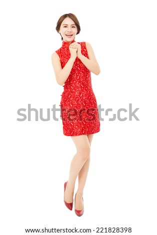 happy chinese new year.beautiful asian woman with congratulation gesture over white background - stock photo