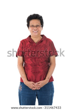 Happy Chinese New Year. Chinese senior woman greeting, isolated on white background