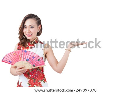Happy chinese new year. smiling young Asian woman holding red envelope. / beauty chinese woman dress traditional cheongsam at New Year, studio shot isolated on white background.