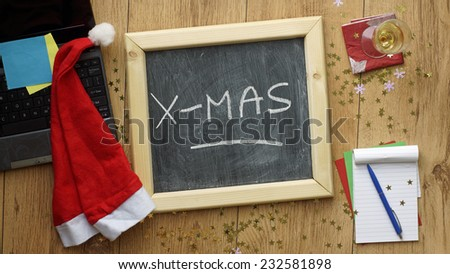 Happy Christmas at the office - stock photo