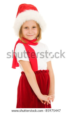 Happy Christmas child on a white background.