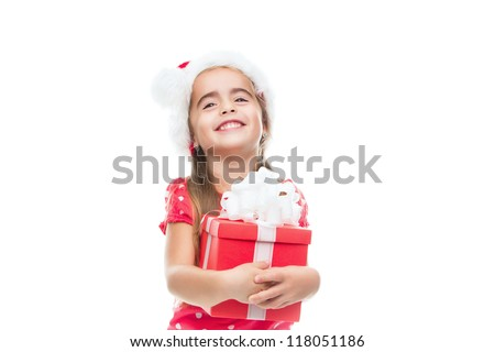 Happy Christmas child with a box on a white background