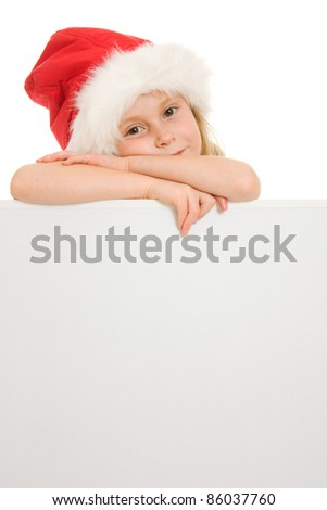 Happy Christmas child with the board on a white background. - stock photo