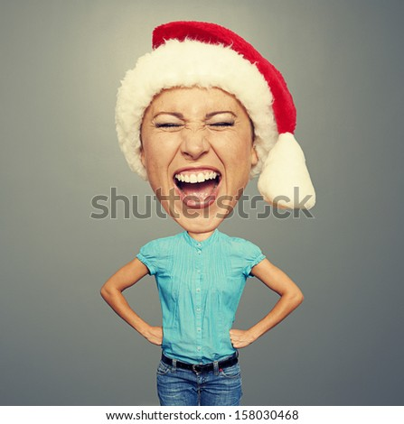 happy christmas girl with big head over grey background
