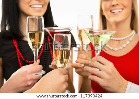 Happy Christmas. Image of people hands with crystal glasses full of champagne - stock photo