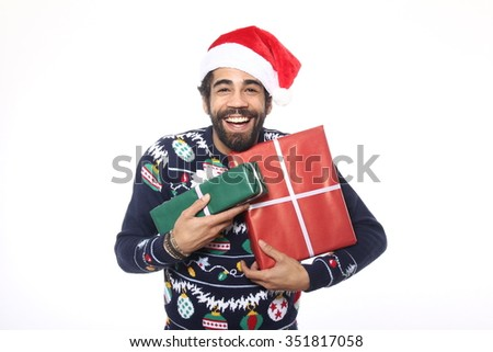 Happy Christmas Man - stock photo