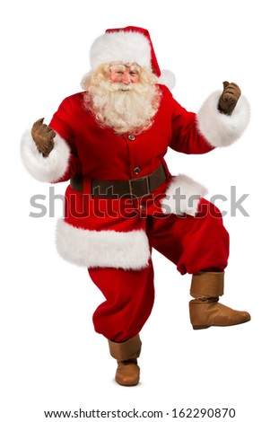 Happy Christmas Santa Claus Dancing. Isolated on white background. Full length - stock photo