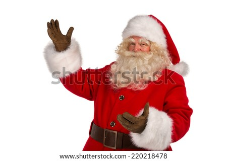 Happy Christmas Santa Claus with a welcome gesture. Isolated on white background. - stock photo
