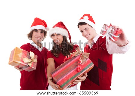 Happy christmas teens with gifts, isolated on white background, studio shot