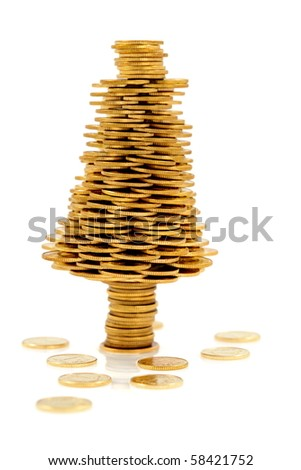 Happy  Christmas tree made of gold coins, business metaphor - stock photo