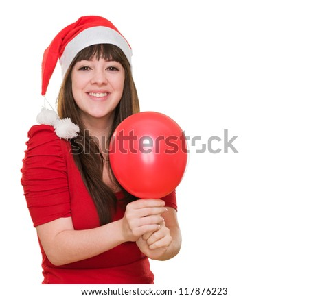 happy christmas woman holding a balloon against a white background