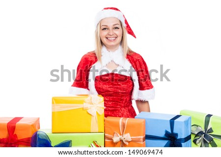 Happy Christmas woman surrounded by presents, isolated on white background.