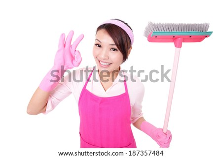 happy Cleaning woman housewife excited showing ok isolated on white background. asian - stock photo
